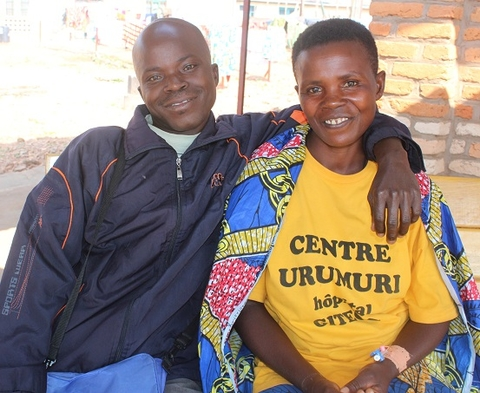 Lino Simparoye with his wife Jovite Ndayishimiye at Urumuri Center. Photo UNFPA Burundi/Queen BM